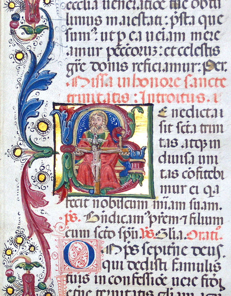 c 1470-80 Missal Leaf - Miniatures of Trinity and Pentecost