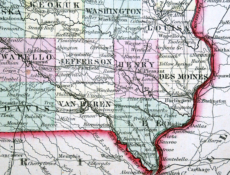 c 1855 Colton  Map of Iowa