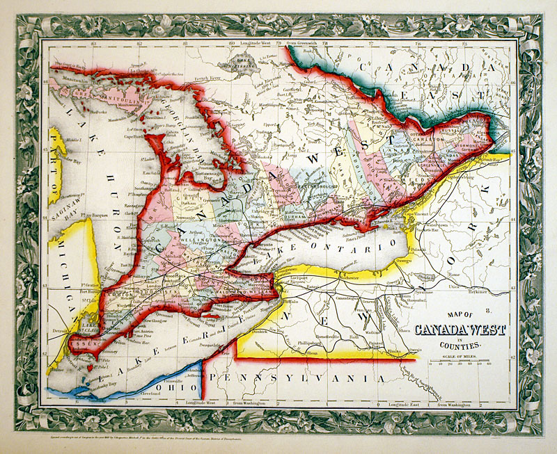 1860 Map Of Canada c 1860 Map of Canada West   Mitchell   SE Ontario [M 13587