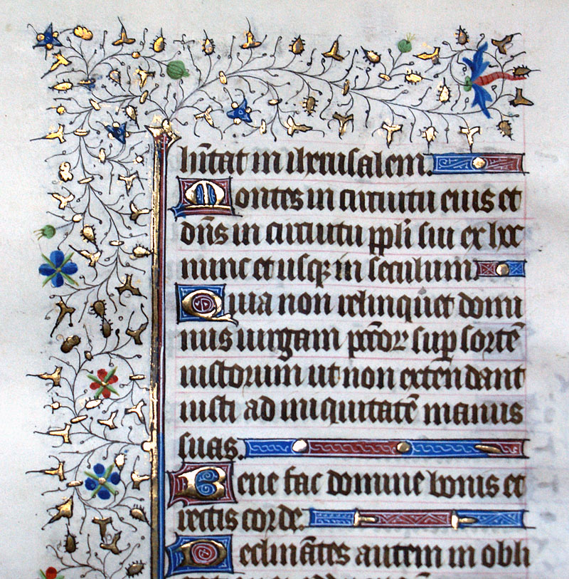 c 1420-40 Book of Hours Leaf - Elaborate Rinceaux Borders!