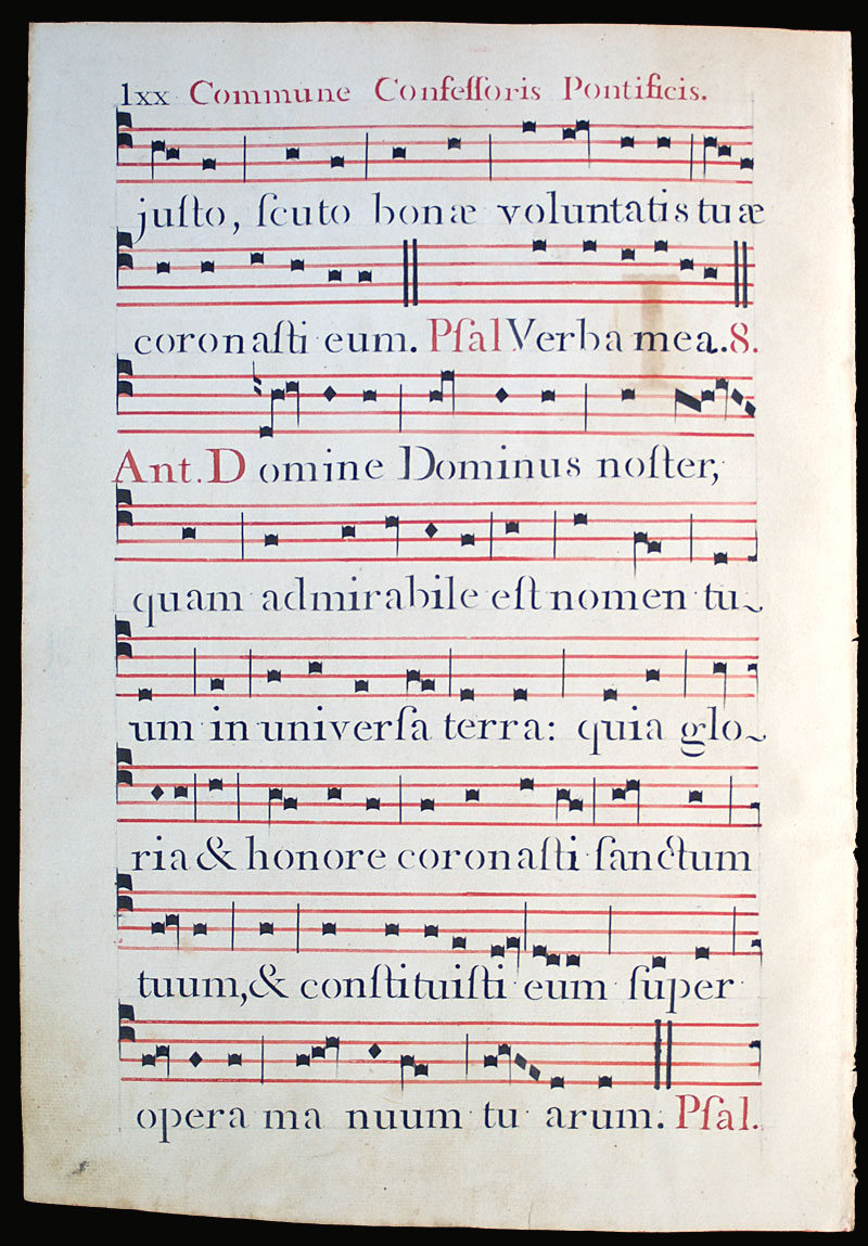 c 1778 Gregorian Chant - Elaborate initial with deer - Italy