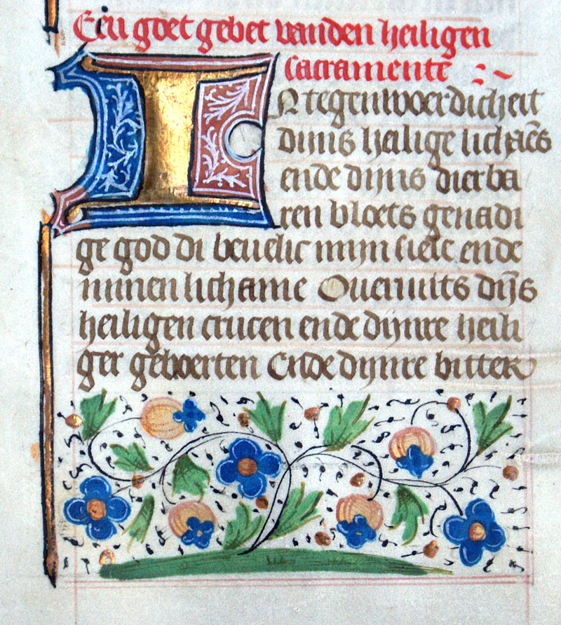c 1475 Book of Hours Leaf - Dutch Text - Floral Border