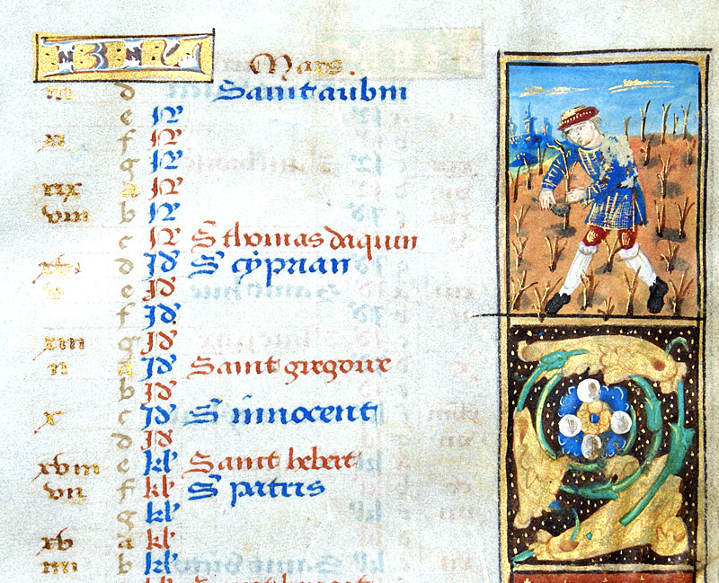 c 1490-1510 Book of Hours Calendar Leaf for March & April