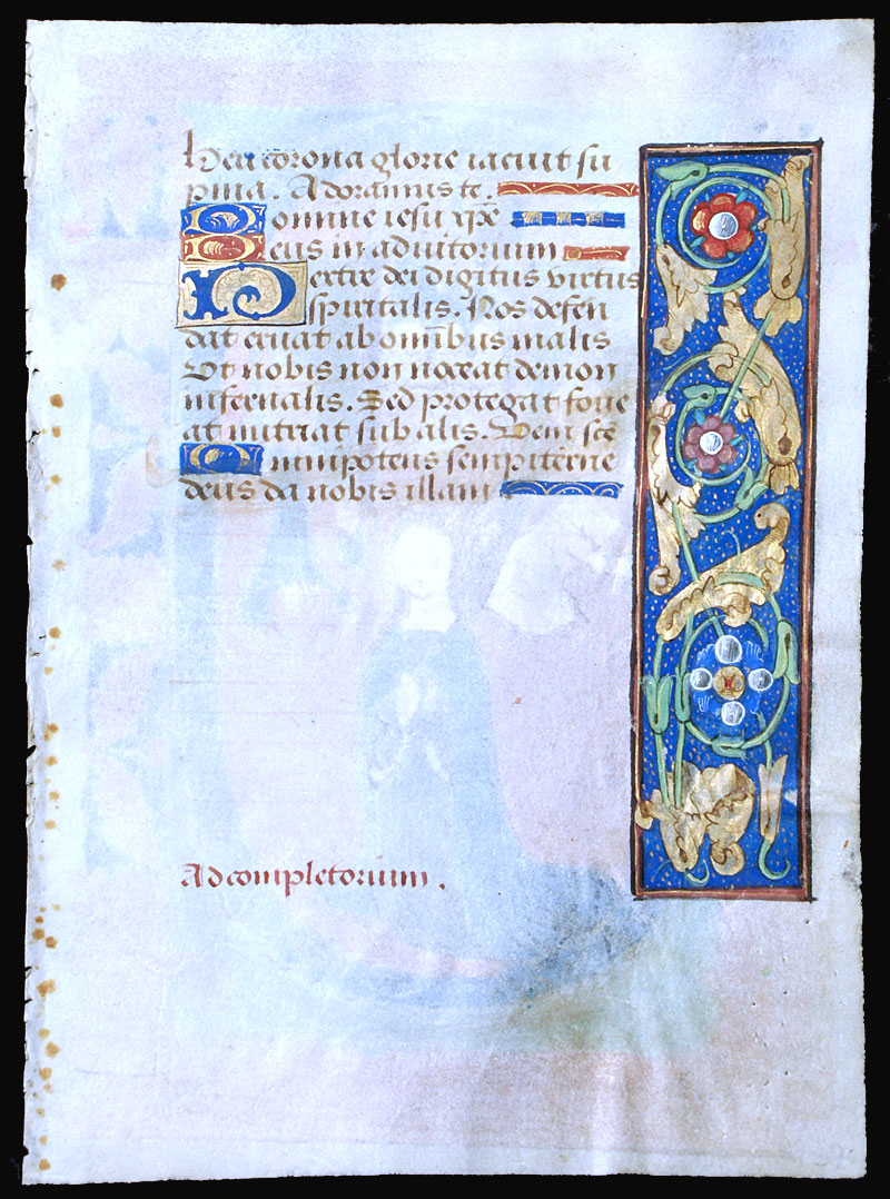 c 1490-1510 Book of Hours Leaf - Coronation of Virgin Mary