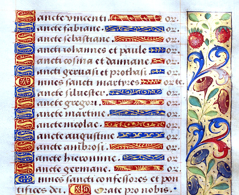 c 1470-90 elegant Book of Hours Leaf - Litany of Saints