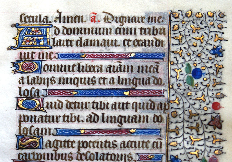 c 1440-50 Book of Hours Leaf - Psalms - Beautiful borders