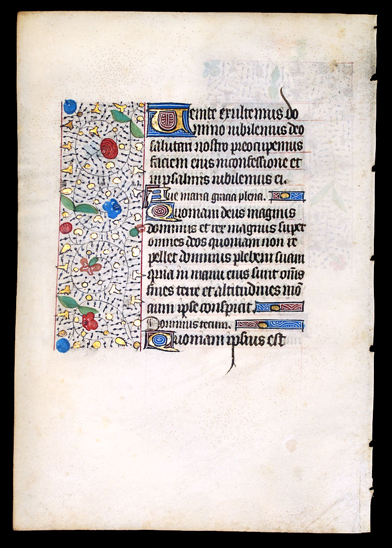 c 1450-75 Book of Hours Leaf - Elaborate initial