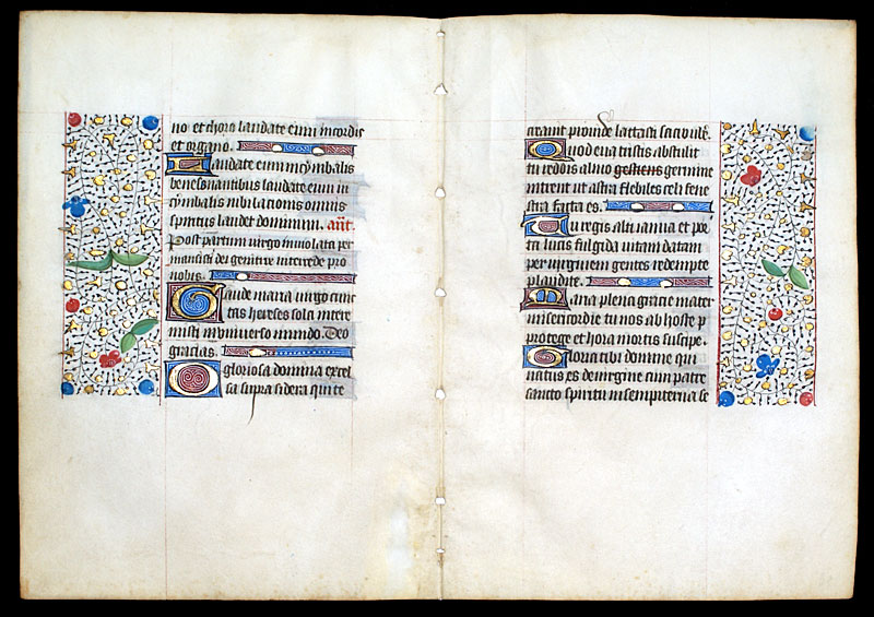 c 1450-75 Book of Hours Leaves - Continuous Bifolium