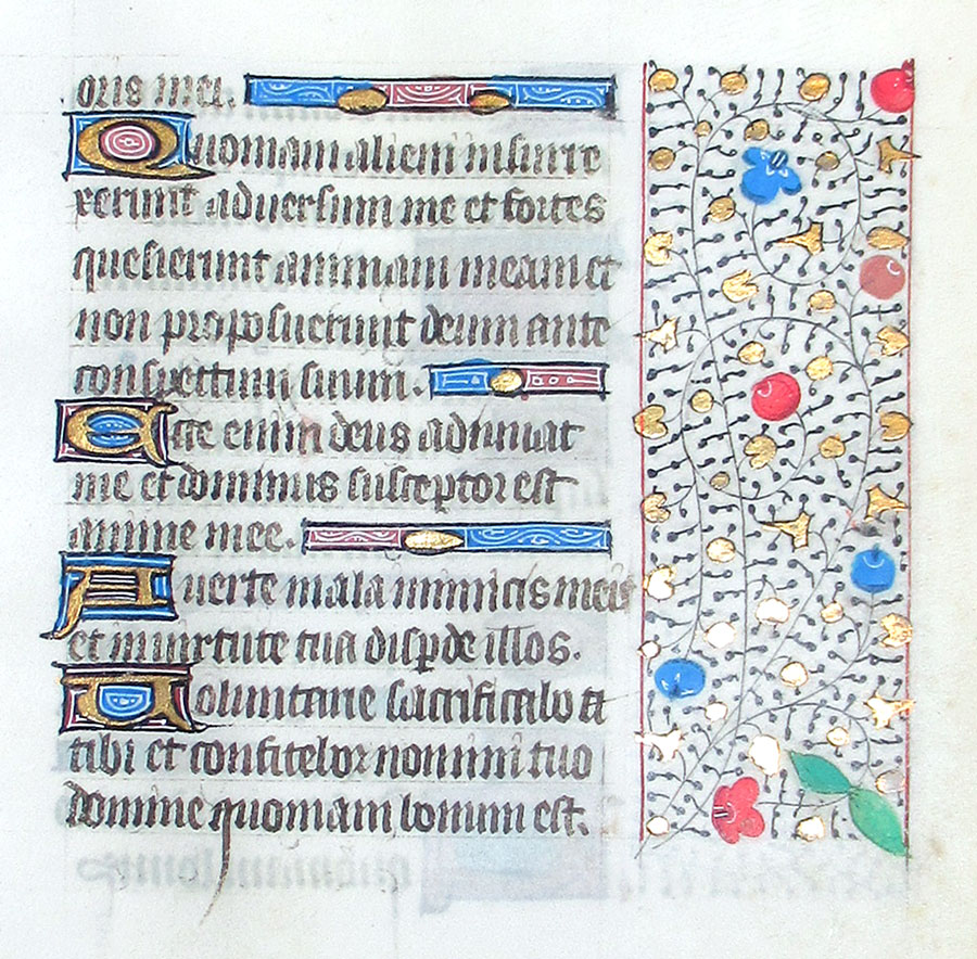 c 1450-75 Book of Hours Leaf - O Praise the Lord all ye nations