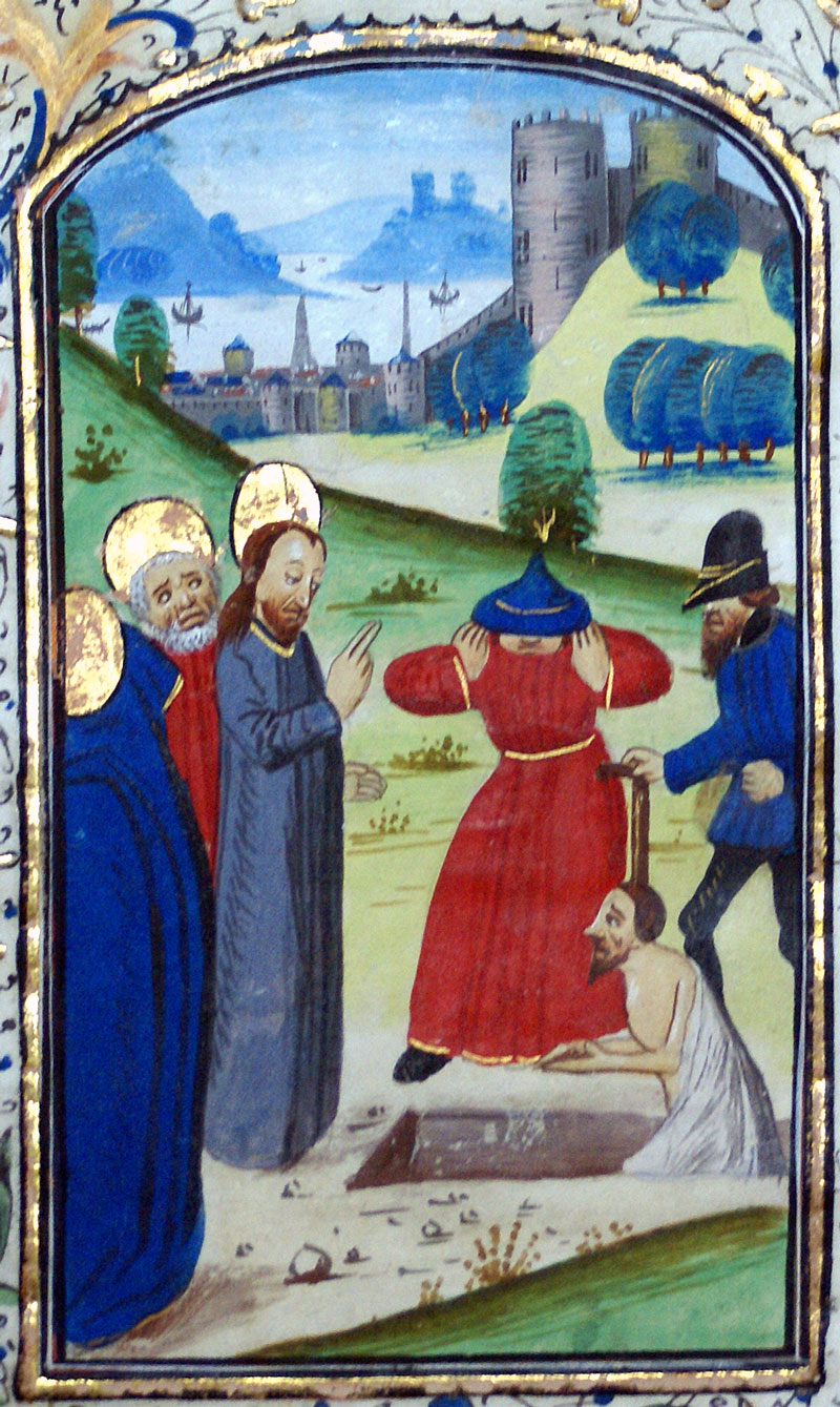 c 1475 Book of Hours Leaf - Raising Lazarus - Belgium