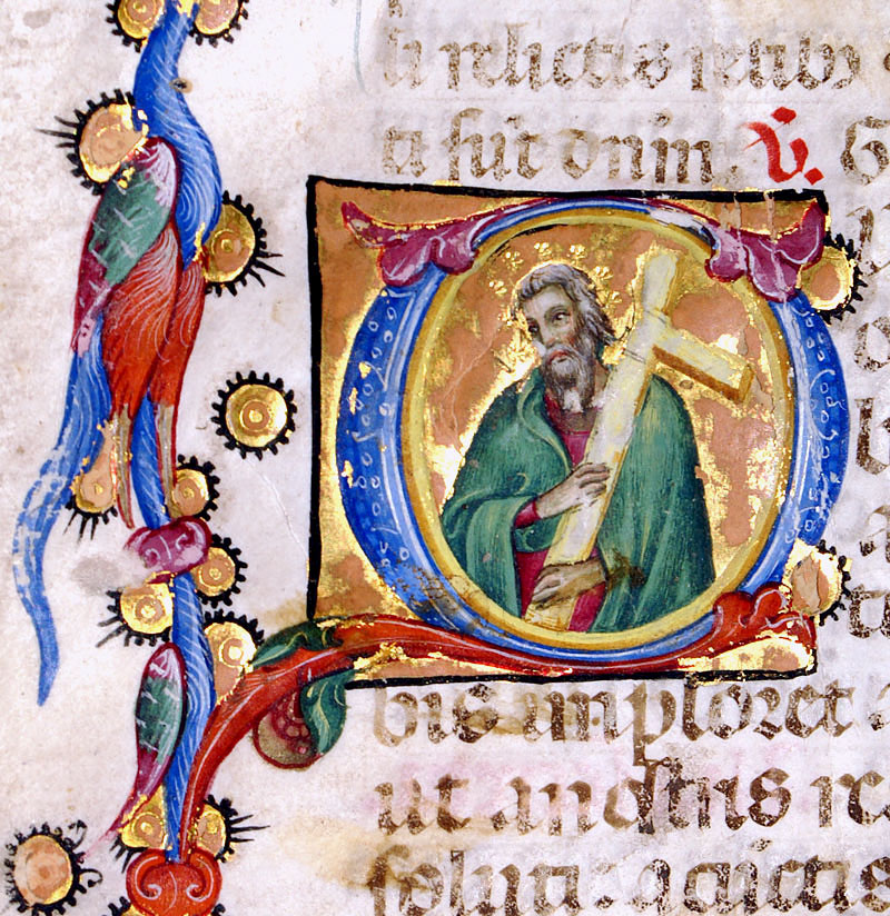c 1460 Missal Leaf - Attributed to Sano Di Pietro - St Andrew