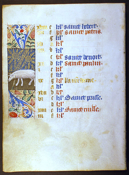 c 1460 Book of Hours Calendar Leaf for March