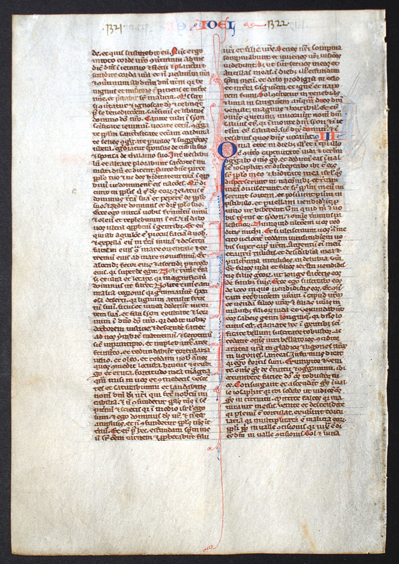 c 1240 Bible Leaf - De Brailes - Miniature of Prophet Joel