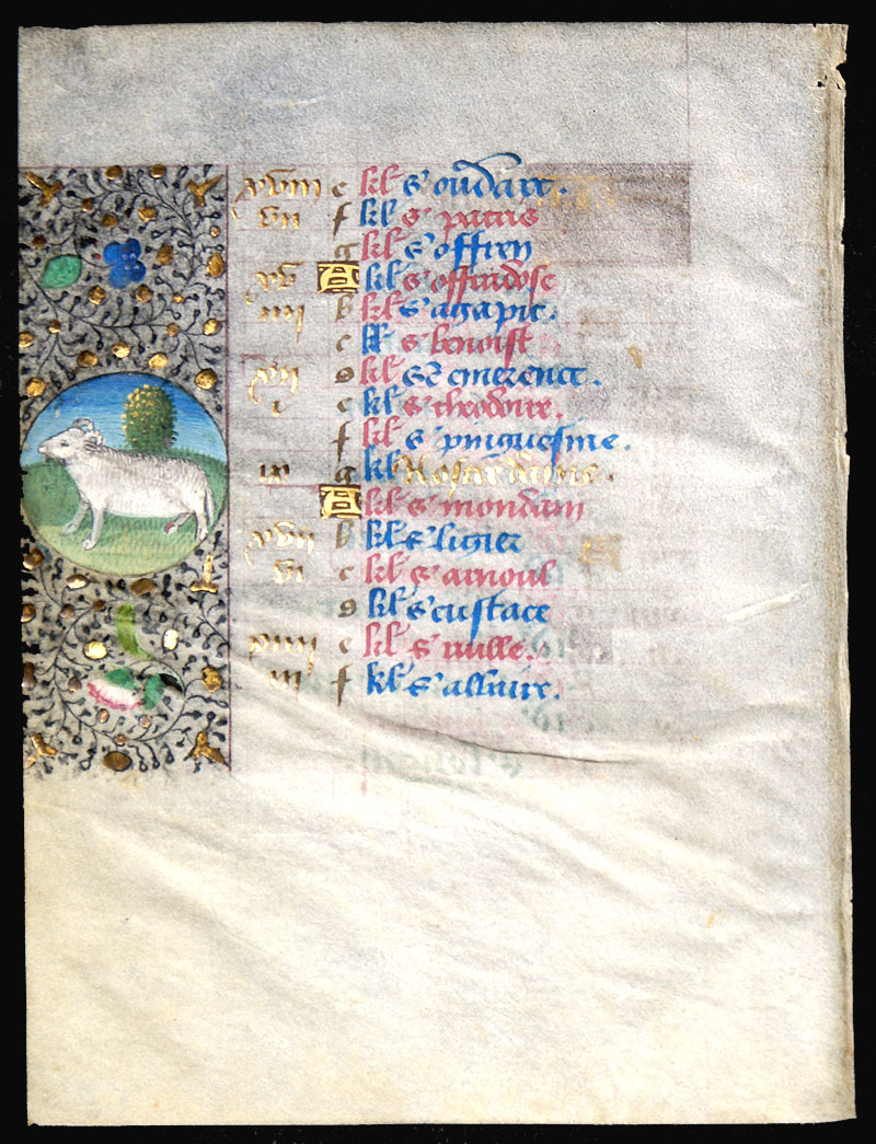 c 1470 Book of Hours Calendar Leaf for March