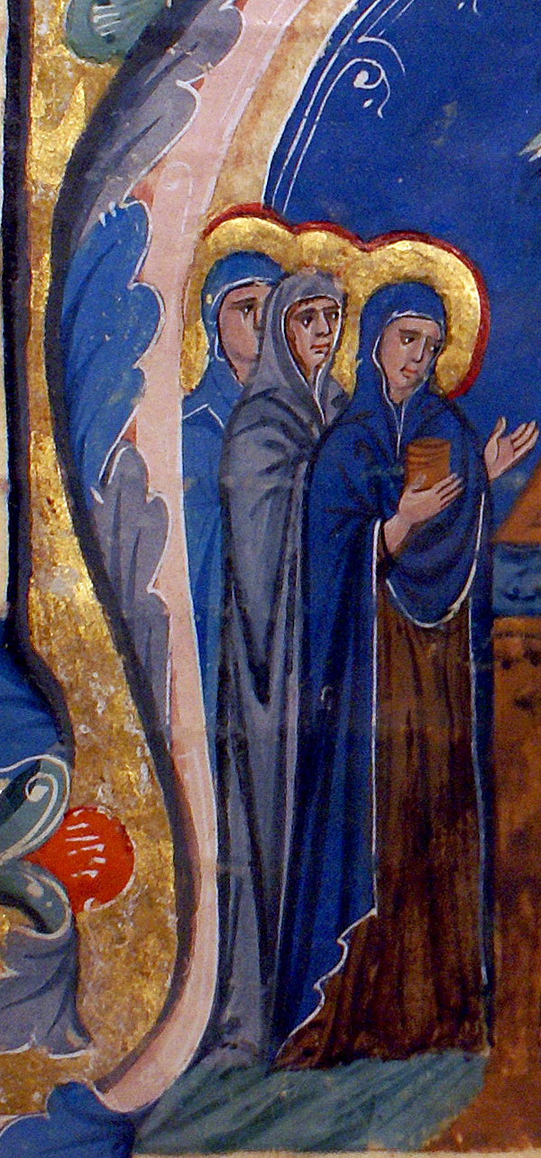 c 1275-1300 Miniature Painting - 3 Marys at tomb