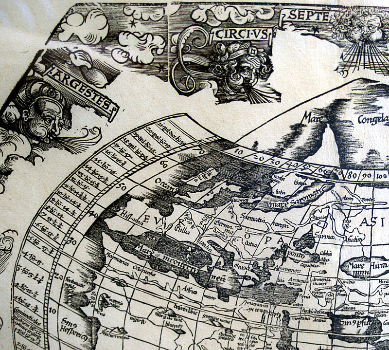 c 1535 Ptolemaic World Map - Pub by Fries - Servetus Edition