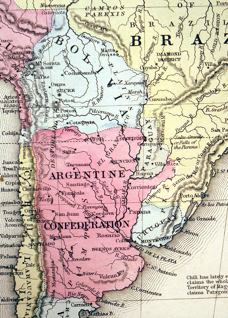 c 1877 ''MAP OF SOUTH AMERICA...'' - Mitchell