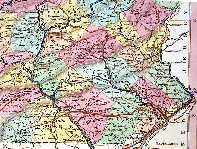 c 1840 ''A NEW MAP OF PENNSYLVANIA...'' - Tanner