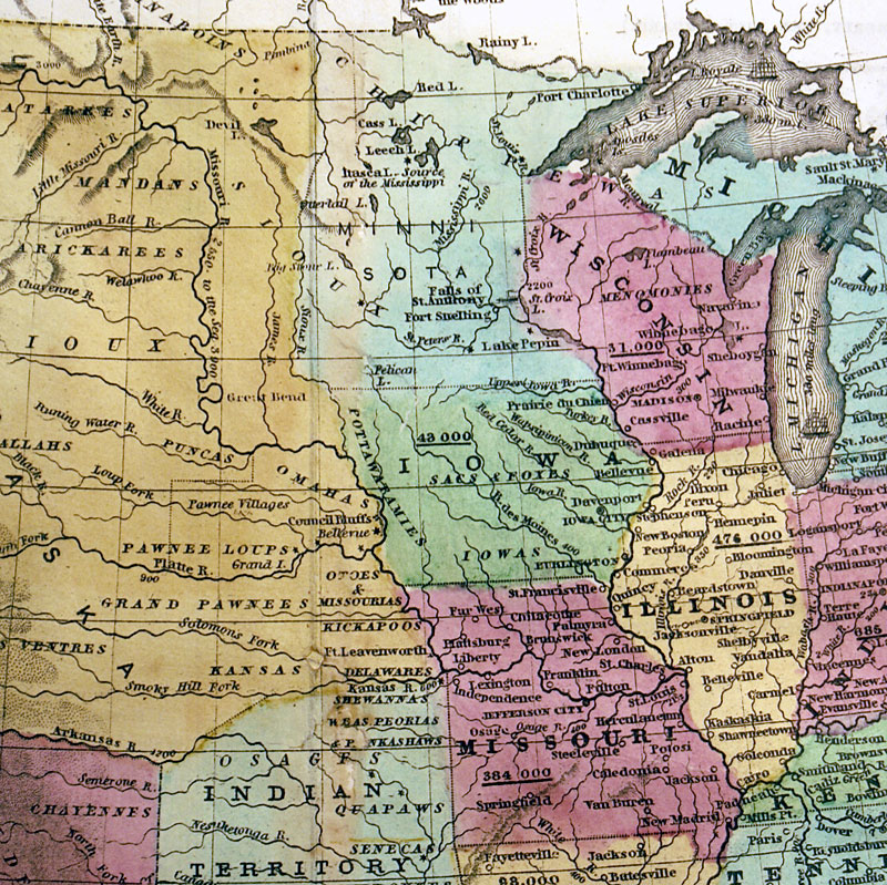 c 1846 ''MAP OF THE UNITED STATES AND CANADA'' Burgess