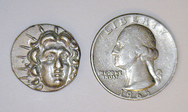 Ancient Greek Silver Coin - Helios & Rose Bud, Wreath